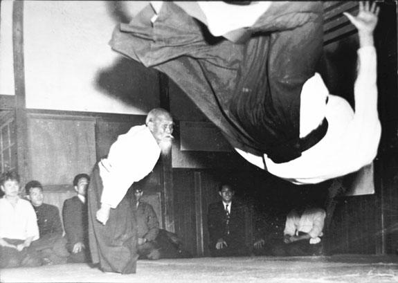 Morihei Ueshiba and Hiroshi Tada