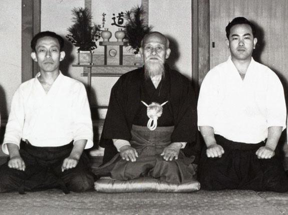 Kisshomaru and Morihei Ueshiba with Koichi Tohei