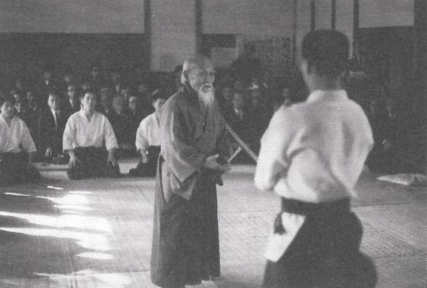 Kenji Shimizu and Morihei Ueshiba around 1965-1966