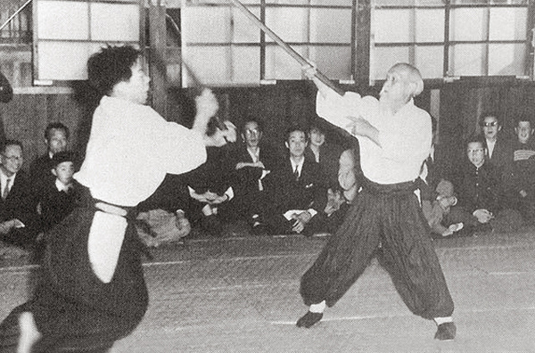 Morihiro Saito and Morihei Ueshiba - 1954