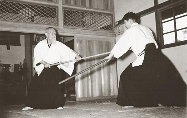 Morihei Ueshiba and Morihiro Saito