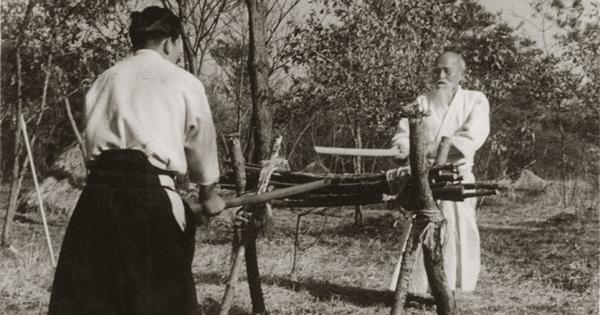 Morihiro Saito and Morihei Ueshiba - Tanren Uchi in 1955