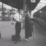 Morito Suganuma and Morihei Ueshiba on a train platform