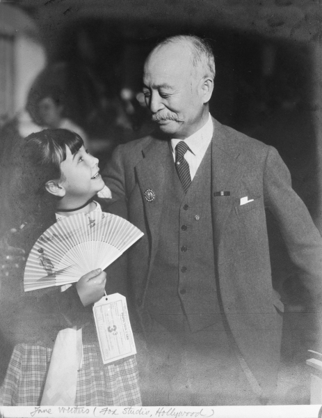 Admiral Isamu Takeshita in Hollywood with child actress Jane Withers, 1935