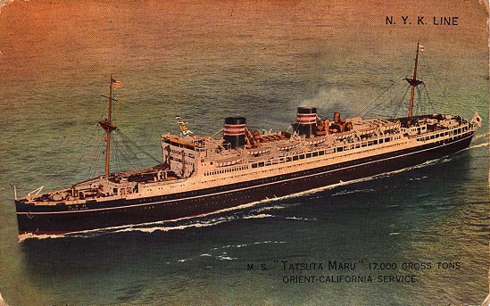 A postcard of the Tatsuta Maru - 1931
